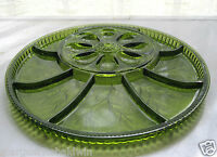 "Indiana Glass Green Pebble Leaf Twiggy Egg Relish 12 3/4"" Tray Platter"