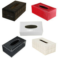 Durable Home Car Rectangle PU Leather Tissue Box Paper Holder Case Cover O9O7