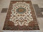 CHIRAAG BUNCH IVORY MEDALLION FLOWRAL HAND KNOTTED RUG WOOL SILK CARPET 6x4