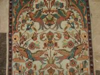 TREE OF LIFE BIRDS HAND KNOTTED RUG WOOL SILK CARPET 4x2.6 FB-815