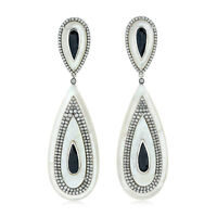 Mother Of Pearl 2.61ct Pave Diamond White Gold Spinel Drop Dangle Earrings NEW!!
