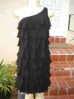 KAY UNGER BLACK SILK ONE SHOULDER LAYERED COCKTAIL DRESS SZ 6