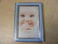 4x6 INCH SMALL BLUE AND SILVER PICTURE PHOTO FRAME WITH GLASS HANG OR STAND NEW