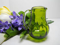 Pilgrim Decorative Collectible Green Glass Mini Pitcher Applied Clear Handle