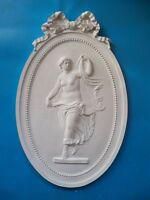 Gips Stuck Relief Medaillon tanzende Frau im Oval RF03