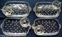 Hazel Atlas Glass 4 Clear Teardrop Snack Luncheon Plate & Cup Sets