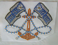 NAUTICAL / FLAGS  ANCHOR ROPE RHINESTONE IRON ON APPLIQUE / HOT FIX TRANSFER