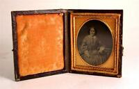 c1860 1/9 plate Ambrotype seated Victorian Woman