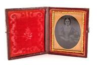 c1860 1/9 plate Ambrotype seated Woman. tinted face