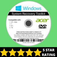 Acer Windows 10 8 8.1 7 Vista XP Recovery Repair Disc USB Reinstall Software DVD