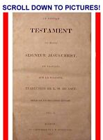 1810 ANTIQUE FIRST AMERICAN FRENCH NEW TESTAMENT HOLY BIBLE 1ST-ED Americana God
