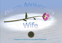 Sixpence for Luck Wife Wedding Anniversary Card