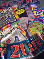 21ST BIRTHDAY PARTY PACK , BOYS  21ST PARTY PACK , 21ST BANNER BALLOONS FLAGS