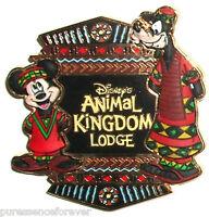WDW Animal Kingdom Lodge: Mickey & Goofy Free-D Logo Pin