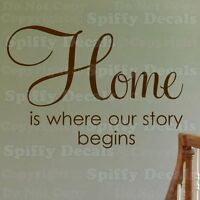 HOME IS WHERE OUR STORY BEGINS Quote Vinyl Wall Decal Sticker Decor Lettering