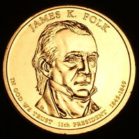 2009 P James K. Polk ~ Presidential Dollar ~ Pos B ~ Coin is from U.S. Mint Roll