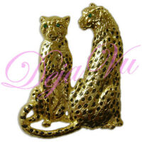 CRYSTAL LEOPARD CHEETAH BROOCH PIN GOLD MADE WITH SWAROVSKI ELEMENTS
