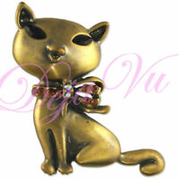 CRYSTAL ANTIQUE GOLD PLATED CAT PIN BROOCH MADE WITH SWAROVSKI ELEMENTS