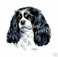 CAVALIER KING CHARLES DOG watercolor 8 x 10 art print signed DJR