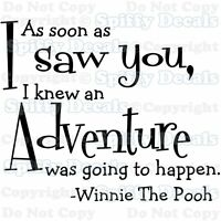 WINNIE THE POOH ADVENTURE Quote Vinyl Wall Decal Lettering Decor Sticker Art