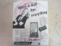 Original Amusement Enterprises Whirl A Ball Arcade Game Flyer