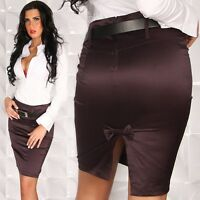 NEW SEXY PENCIL COTTON POLY SKIRT + BELT SIZES 8 10 12 PURPLE/WHITE/GREY/BLACK