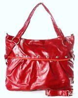 LADIES WOMENS HOT RED SHINY HANDBAG STUDDED TOTE SHOULDER SLOUCH CROSS BODY BAG