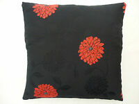 black with red flower design scatter cushion cover in Madrid fabric
