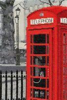 "London Telephone Box London Scene Cross Stitch Kit - DMC - 14 Count - 8"" x12"""