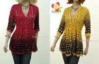 Faux Silk Retro Pinup Rockabilly Polka Dot Tunic Beaded Flutter Blouse Shirt Top