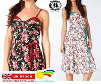 LADIES FLORAL FLOWER MAXI MIDI SHIFT DRESS SIZE 8-14 TEA PARTY PLEATED SKATER