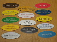 20 x Engraved Oval Name Badges - Your text, choice of colours, top quality