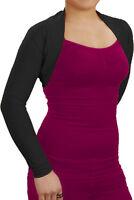 Black Long Sleeve Bolero Shrug Soft Viscose UK 16 18 20 22