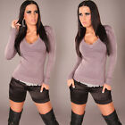 NEW SEXY WOOL COTTON BLEND SOFT KNIT SWEATER JUMPER 8 10 12 14 GREY/BLACK/BROWN