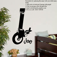 LARGE PERSONALISED STUNT SCOOTER CHILDRENS ART BEDROOM WALL STICKER VINYL DECAL