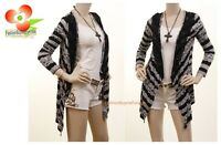 Designer Black White Stripe Lace Jersey asymmetric Sweater Cardigan Top S M L XL