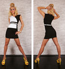 NEW SEXY BLACK WHITE BUSINESS STYLE MINI DRESS BELT PARTY/OFFICE/WORK 8 10 12 14