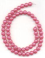 Medium Pink Glass Round Pearl Beads 8mm