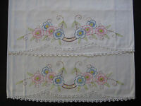 vintage pillowcase set, hand embroidery, pillow case, embroidered pillowcases 22