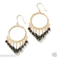 Technibond Round Chandelier Onyx Gemstone Drop Earrings 14K Clad Silver 925