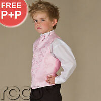 Boys Pink Suit Wedding Pageboy Prom Waistcoat Suits Age 0-3m - 12 years