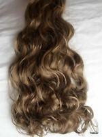 "17-19"" Clip in Hair Extensions Curly Wavy Ash Brown #18 Full Head 8PC"