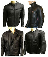 Mens Leather Motorcycle CE Armoured Motorbike Biker Jacket Black All Sizes NEW