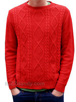 Mens Arran Cable Knit jumper 80s 70s indie vtg retro xs s m l xl wool Red