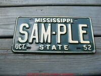 1952 52 MISSISSIPPI MS SAMPLE LICENSE PLATE NICE TAG