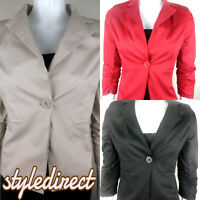 LADIES BLAZER RUCHED SLEEVE JACKET COAT WOMENS SLIM FIT SIZE 8-10 -12-14- 16