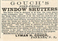 VERY OLD 1878 GOUCH FIRE PROOF WINDOW SHUTTERS AD YONKERS NY NEW YORK