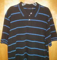 NWT NEW mens size XL black blue striped CLUB ROOM s/s polo shirt free shipping