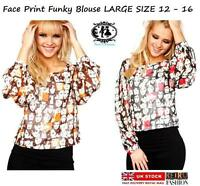 LADIES QUIRKY BLOUSE 60's Vintage Retro Style Top UK Size 12-16 FACE PRINT SHIRT