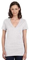 Bella Canvas Ladies Womens Deep V Neck Short Sleeve S-XL T-Shirt. B6035